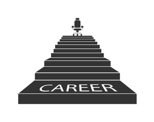 Career ladder. The stairs lead up to the Executive chair. Simple design.