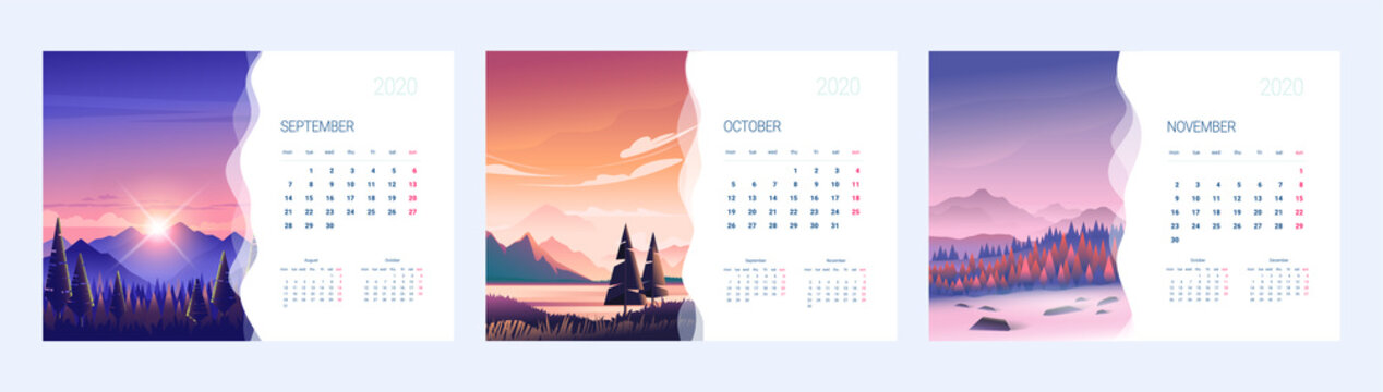 Calendar for 2020 with an illustration of nature. Three months of autumn.