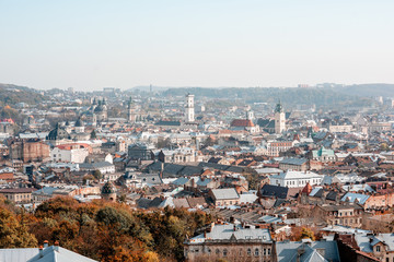 Fototapete - Cityscape skyline view on the old town of Lviv city during the sunny autumn in Ukraine