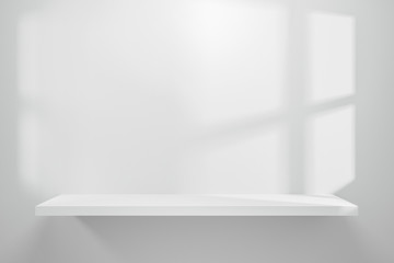 Fototapeta Front view of empty shelf on white table showcase and wall background with natural window light. Display of backdrop shelves for showing minimal concept. Realistic 3D render. obraz
