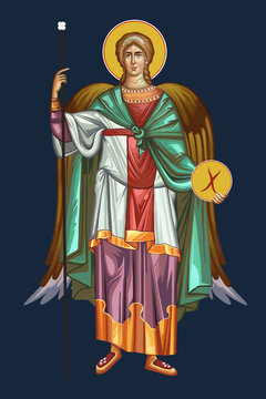 The archangel Michael. Prince of Heavenly Host. Illustration in Byzantine style