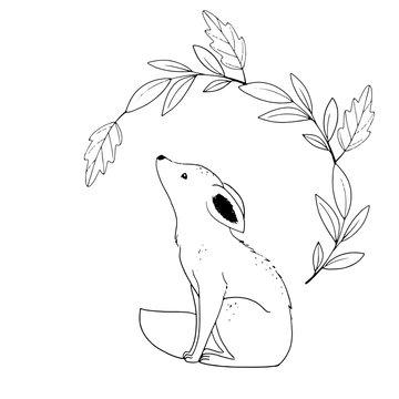 Cute little fox witkh wreath