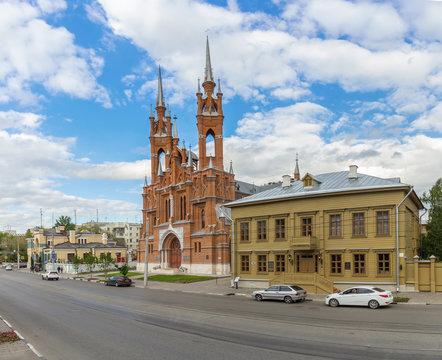 Alexey Tolstoy Museum and catholic Church in Samara, Russia