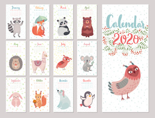 Wall Mural - Calendar 2020 with Woodland characters. Cute forest animals. Vector illustration.