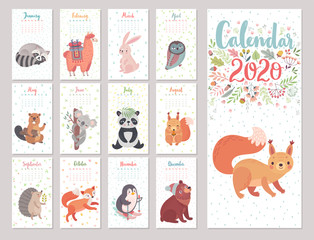Canvas Print - Calendar 2020 with Woodland characters. Cute forest animals.