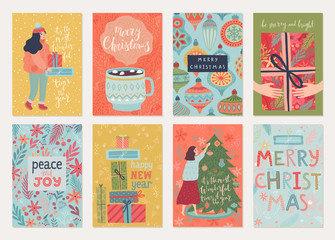 Wall Mural - Christmas card set with payyerns, letterings, characters and other elements. Hand drawn style flyers.