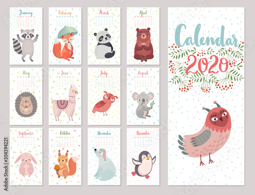 Wall mural Calendar 2020 with Woodland characters. Cute forest animals. Vector illustration.