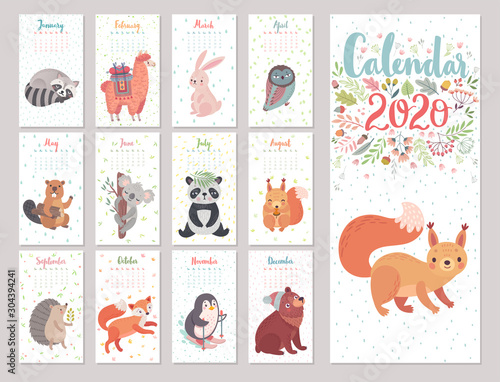 Wall mural Calendar 2020 with Woodland characters. Cute forest animals.