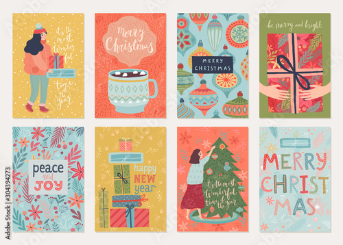 Wall mural Christmas card set with payyerns, letterings, characters and other elements. Hand drawn style flyers.