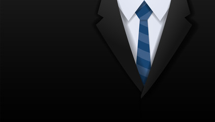 Closeup of businessman black suit and blue necktie with copy space, Paper art cut and craft style background