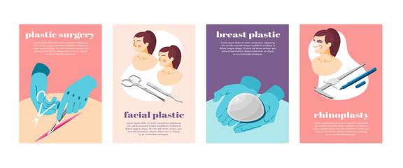 Plastic Surgery Isometric Icons Set