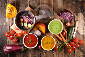 Fotobehang - vegetable soup with ingredient and cooking pan