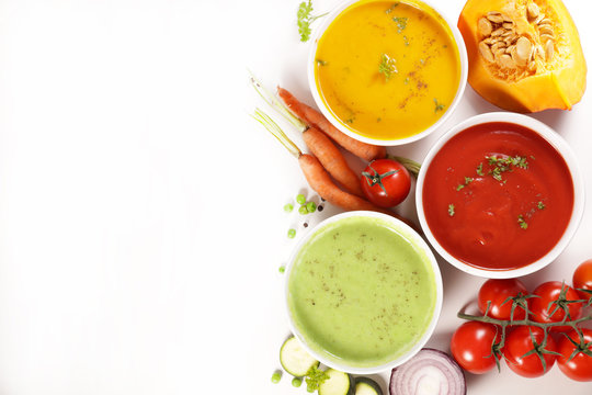 collection of vegetable soup with ingredient on white background