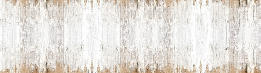 Fotobehang Hout old white painted exfoliate rustic bright light wooden texture - wood background banner panorama long shabby