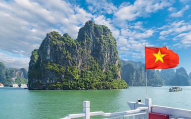 Wall Mural - Landscape with Halong bay and Vietnamese flag, Vietnam