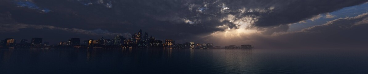 evening city above the water, stormy sky on the evening city. 3d rendering.