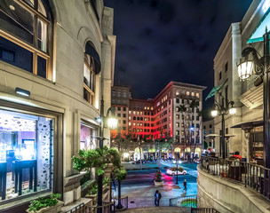 Elegant buildings in Rodeo Drive by night