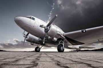low angle shot of an historical aircraft