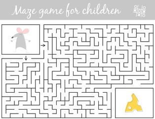 Help mouse find path to cheese through the labyrinth. Maze game