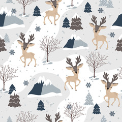 Christmas seamless pattern with reindeer background, Winter pattern, wrapping paper, pattern fills, winter greetings, web page background, Christmas and New Year greeting cards