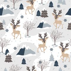 Modèle sans couture de Noël avec fond de renne, modèle d& 39 hiver, papier d& 39 emballage, motifs de remplissage, salutations d& 39 hiver, arrière-plan de page Web, cartes de voeux de Noël et du nouvel an