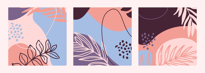 Set of Abstract print outline of the plants and geometric shapes in a minimal trendy style templates for social media post. Vector background collage art. For posters, postcards, Covers, prints.