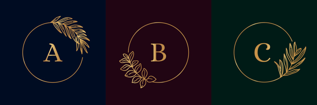 Set of Logos with Golden tropical palm leaf. Round frame in trendy minimal linear style. Vector Emblem with Palm and olive branch. For logo cosmetics, beauty Studio, hairdresser, hand made, jewelry