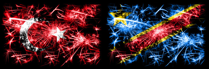 Turkey, Turkish vs Democratic Republic of the Congo New Year celebration sparkling fireworks flags concept background. Combination of two abstract states flags.