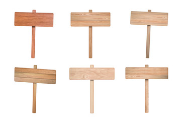 Set of Wooden road sign isolated on white background.
