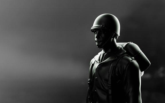 WW2 American Soldier. 3d render