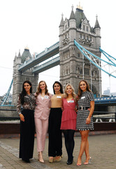 Miss World contestants Lauren Leckey of Northern Ireland, Gabriella Jukes of Wales, Bhasha Mukherjee of England, Keryn Matthew of Scotland and Chelsea Farrell of Ireland pose for a photograph ahead of the 69th Miss World festival and final in London