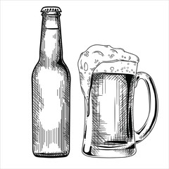 Set of the beer bottle and glass vector illustration, hand drawn sketch style