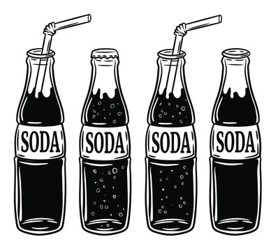 set of the different bottles with soda, vector hand drawn illustration