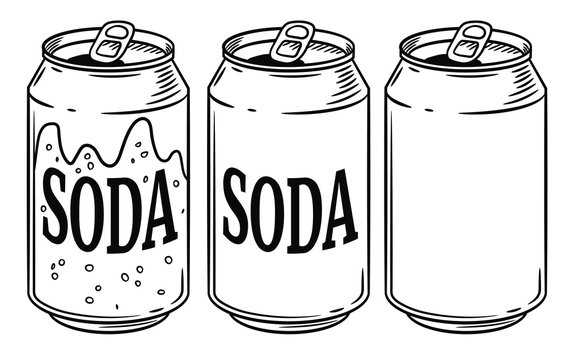 Vector illustration soda can isolated on white background. Hand drawn style sketch. For restaurant or cafe drink menu