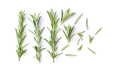 Rosemary isolated on white background. Top view. Fototapete