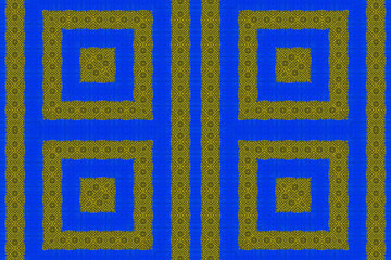 Blue and yellow African fabric