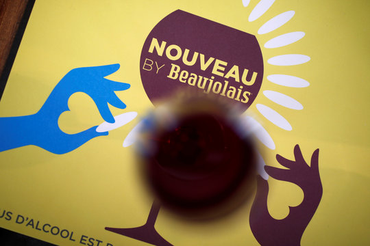 A glass of Beaujolais Nouveau wine is pictured in a bistrot in Paris