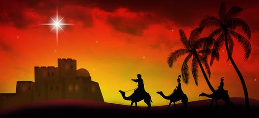 Foto auf Leinwand Rot kubanischen Christmas time. Three kings and star of Bethlehem. Copy space.