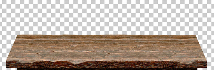 Empty wooden table top high angle from top isolated in checkered background including clipping path