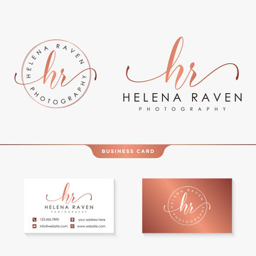 initial hr feminine logo collections template vector