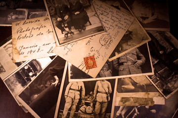 old photos and postcard (1940-1945) Wall mural