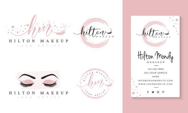 eyelashes feminine logo collections template premium vector