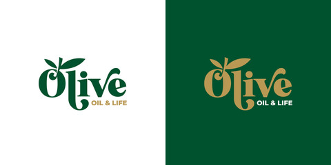 olive oil typography logo design template vector