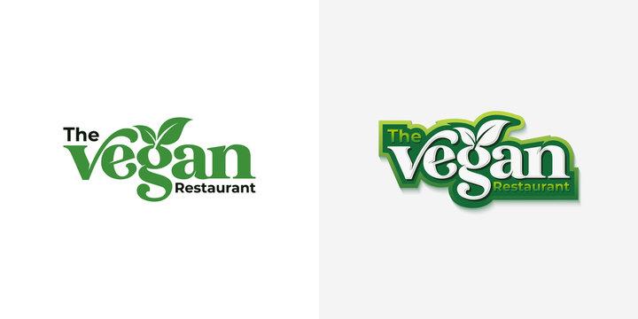 vegan typography logo design template vector