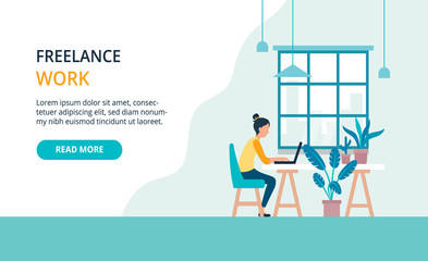 Freelancer girl with notebook, easely working in cafe. Modern bright banner, site template with place for your text.