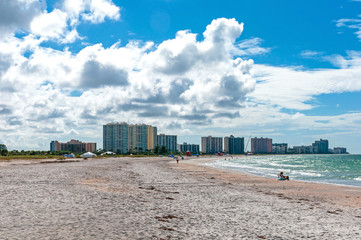Panoramic view of the Bell Air skyline and beach, on a sunny and cloudy morning. Bell Air Beach, Florida, USA