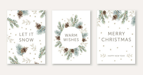 Winter nature design greeting cards template, circle frame, text Let it Snow, Warm Wishes, Merry Christmas, white background. Green pine, fir twigs, cones, stars. Vector xmas illustration Fotomurales