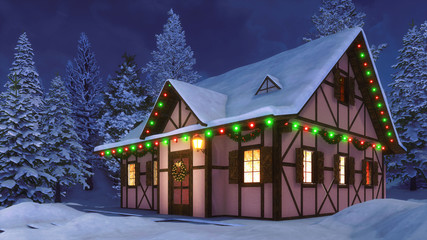 Wall Mural - Cozy half-timbered rustic house decorated for Xmas with christmas lights, wreath and garlands among snow covered fir forest at winter night. Festive 3D illustration.