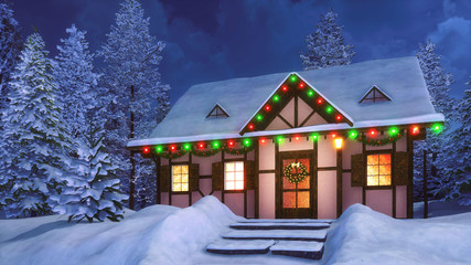 Wall Mural - Porch of cozy snowbound half-timbered rural house decorated for Xmas with christmas lights, wreath and garlands among snowy fir forest at winter night. 3D illustration.