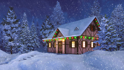 Wall Mural - Solitary snowbound half-timbered rural house decorated for Christmas among snow covered fir forest at winter night during heavy snowfall. Festive 3D illustration.